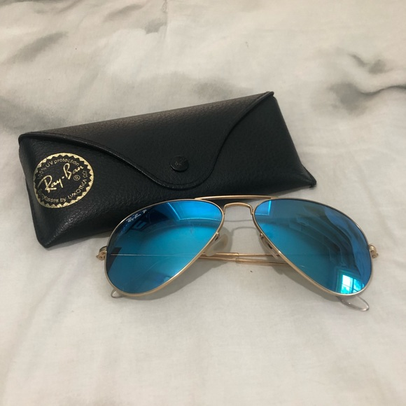 ray ban aviator blue mirror polarized